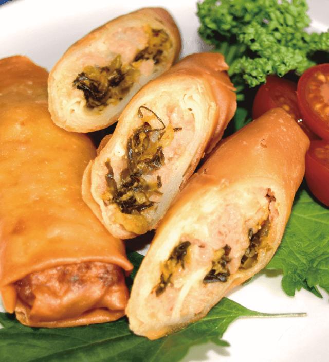 筍と明太高菜の春巻き