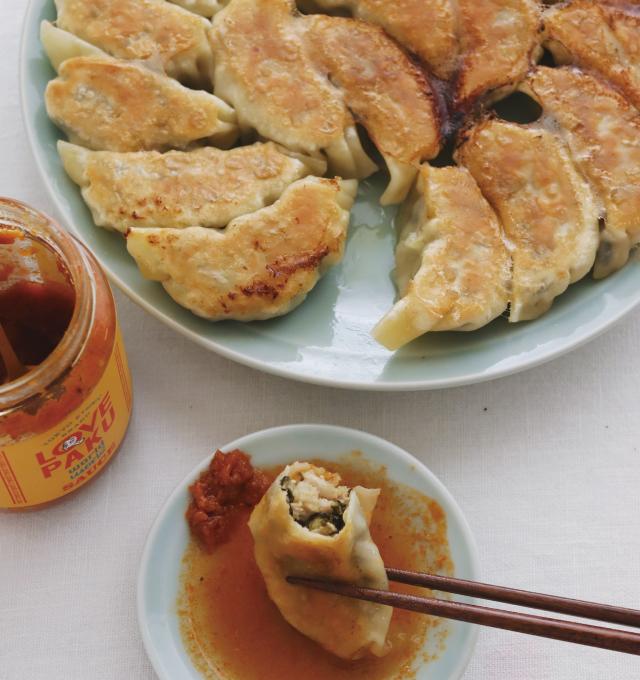 からし明太子高菜で、餃子。